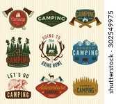 vector set of camping vintage... | Shutterstock .eps vector #302549975