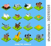 isometric animals set with 3d... | Shutterstock .eps vector #302550335
