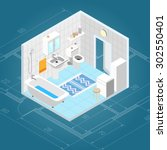 bathroom interior isometric... | Shutterstock .eps vector #302550401