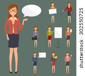 business woman people character ... | Shutterstock .eps vector #302550725