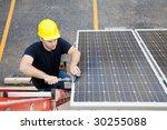 electrician repairing solar... | Shutterstock . vector #30255088