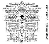 navajo aztec vector tribal... | Shutterstock .eps vector #302552255
