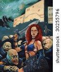 warrior girl and mutants... | Shutterstock . vector #30255796