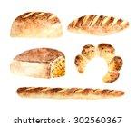 watercolor fresh bread bakeries ...   Shutterstock . vector #302560367