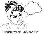 pop art cute retro woman in...   Shutterstock .eps vector #302565749