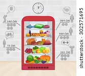fridge with food. the set of... | Shutterstock .eps vector #302571695