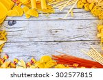 pasta   different kinds of... | Shutterstock . vector #302577815