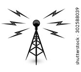 antenna   broadcast tower icon... | Shutterstock .eps vector #302588039