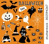 hand drawn halloween set | Shutterstock .eps vector #302594267