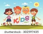 kids party. cartoon background. ... | Shutterstock .eps vector #302597435