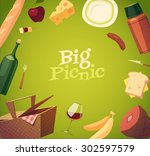 picnic background. vector... | Shutterstock .eps vector #302597579