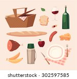picnic objects. vector... | Shutterstock .eps vector #302597585