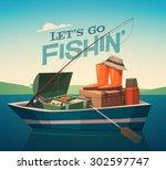 fishing boat. vector... | Shutterstock .eps vector #302597747