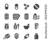 pharmacy and pill icon set ... | Shutterstock .eps vector #302599355