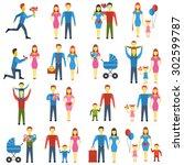 family stylized logo icons set. ...   Shutterstock . vector #302599787