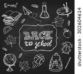 hand drawn back to school set.... | Shutterstock .eps vector #302604614