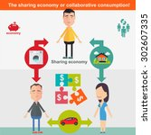 sharing economy and smart... | Shutterstock .eps vector #302607335