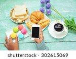 female hand hold smartphone and ...   Shutterstock . vector #302615069
