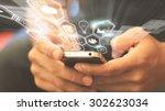 social media social network... | Shutterstock . vector #302623034