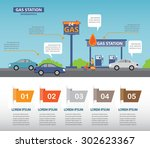 gas station infographics... | Shutterstock .eps vector #302623367
