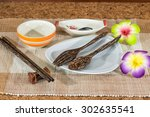 dining set with plates ceramic... | Shutterstock . vector #302635541