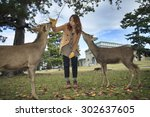 Visitors Feed Wild Deer In Nar...