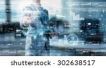 businessman press on digital... | Shutterstock . vector #302638517