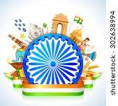 illustration of monument around ... | Shutterstock .eps vector #302638994