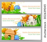 illustration of set of banner... | Shutterstock .eps vector #302639045