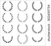 laurel wreathes set   symbol of ... | Shutterstock .eps vector #302650754
