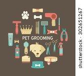 pet grooming icons set....   Shutterstock .eps vector #302651267