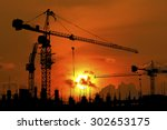 silhouette of construction site ... | Shutterstock . vector #302653175