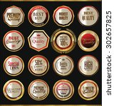 quality golden badges and... | Shutterstock .eps vector #302657825