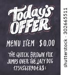 today's offer. chalkboard menu... | Shutterstock .eps vector #302665511
