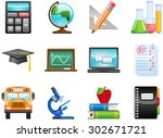 education icon set. vector... | Shutterstock .eps vector #302671721