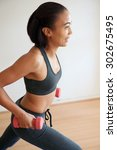 smiling fitness woman... | Shutterstock . vector #302675495