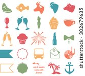 vector collection of wedding... | Shutterstock .eps vector #302679635
