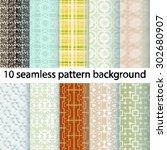 10 vector seamless patterns.... | Shutterstock .eps vector #302680907