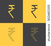 rupee indian money sign flat... | Shutterstock .eps vector #302682335