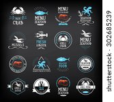 seafood menu and badges design... | Shutterstock .eps vector #302685239