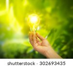 Hand Holding A Light Bulb With...