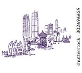 jakarta skyline  places and...   Shutterstock .eps vector #302696639