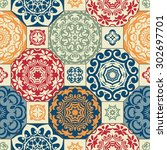 seamless patchwork pattern from ... | Shutterstock .eps vector #302697701