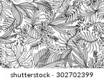 seamless contour tropical... | Shutterstock .eps vector #302702399