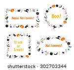 set of vector halloween frames. ...   Shutterstock .eps vector #302703344