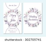 wedding invitation  thank you... | Shutterstock .eps vector #302705741