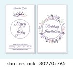wedding invitation  thank you... | Shutterstock .eps vector #302705765