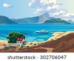 sea mediterranean landscape... | Shutterstock .eps vector #302706047