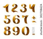 isolated shiny golden ribbon... | Shutterstock .eps vector #302708624