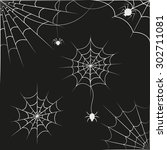 spider web on black background. ... | Shutterstock .eps vector #302711081